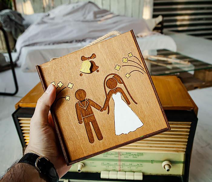 BOX250-2 Свадебная коробка для подарка с веревочными ручками (17*17*10 см) фото 07