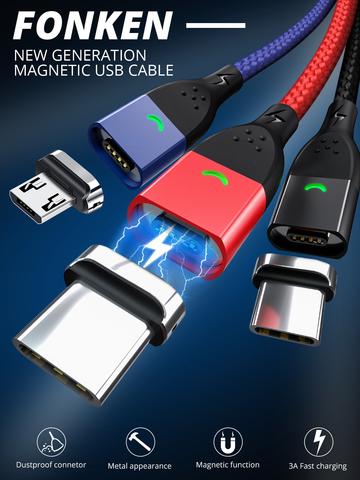 Магнитный кабель FONKEN TOPK KUULA - быстрая зарядка + передача данных - Lightning Micro USB Type-C (1 коннектор в комплекте).