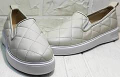 Женские спортивные туфли слипоны без шнурков Alpino 21YA-Y2859 Cream.