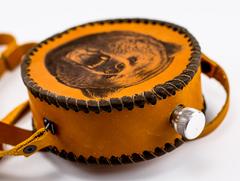 Фляга круглая, натуральная кожа с художественным выжиганием, 500 мл, фото 3