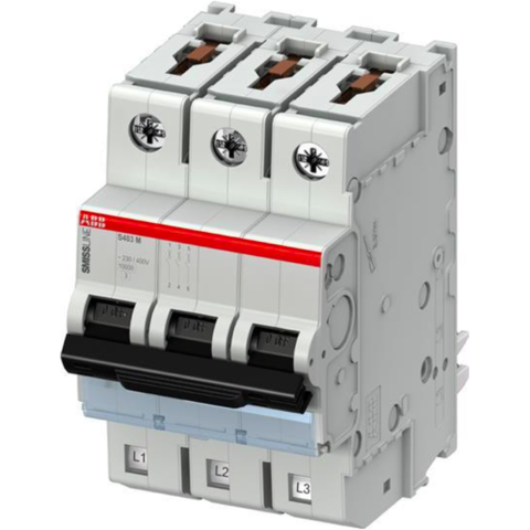 Автоматический выключатель 3-полюсный 10 А, тип B, 10 кА S403M-B10. ABB. 2CCS573001R0105