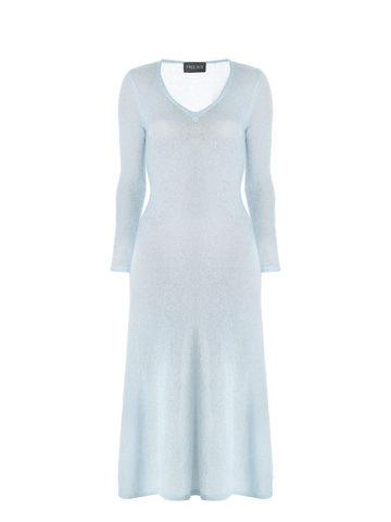 Женское платье синего цвета из мохера - фото 1