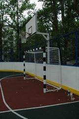 Стойка баскетбольная Г-обр уличная стационарная бетонируемая вынос 1.2 м (щит 1800х1050мм фанера 18 мм + кольцо + сетка)