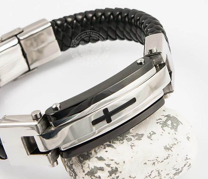 SSBM-0703 Крутой массивный мужской браслет «Spikes» из кожи и стали (21 см) фото 07
