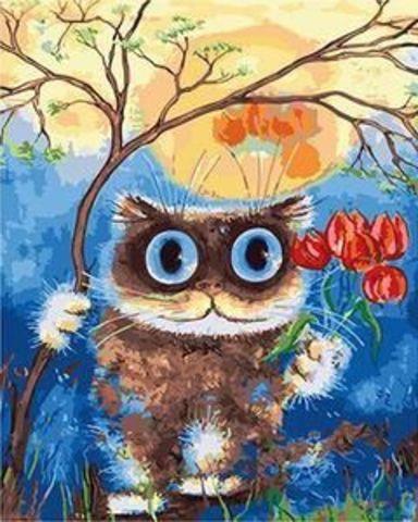 Картина раскраска по номерам 30x40 Кот с тюльпанами