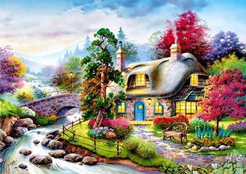 Алмазная Мозаика + Багет 30x40 Уютный домик