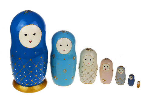 Большая 7-местная авторская матрёшка коллекция Faberge