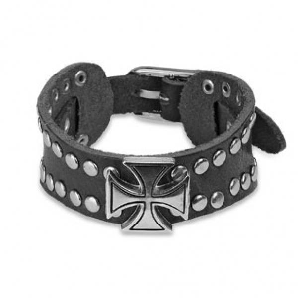 Кожаный браслет с крестом SPIKES SL0030-K