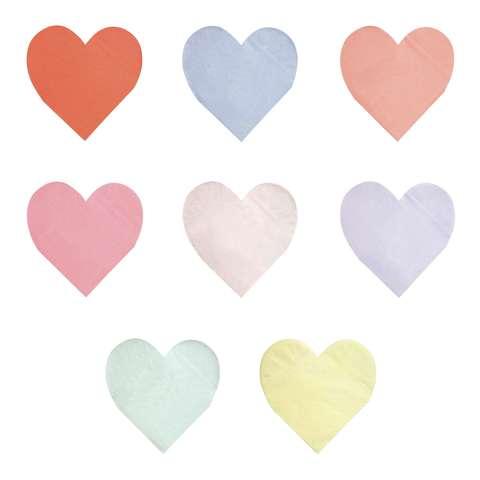 Салфетки пастельные в форме сердца