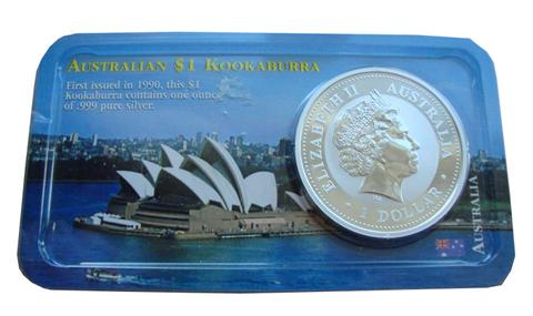 1 доллар 2001 год Кукабарра Кукабурра птица. Австралия. Серебро в буклете
