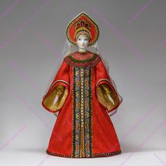 Интерьерная кукла Царевна в красном праздничном наряде