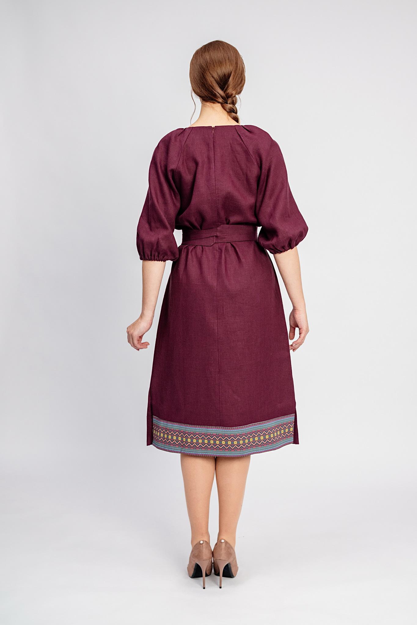 Платье с поясом славянское Гранатовый браслет