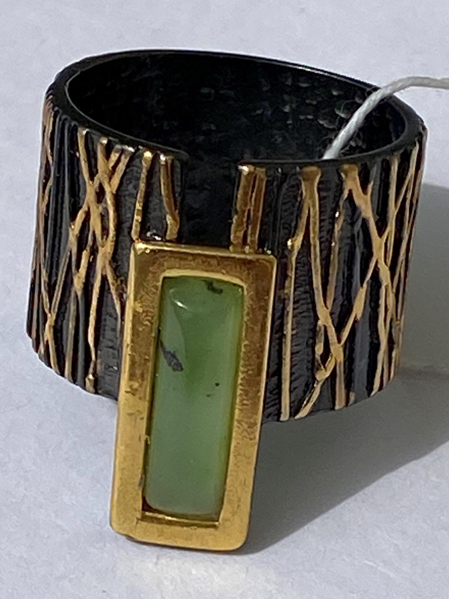 Трия-нефрит  (кольцо из серебра)