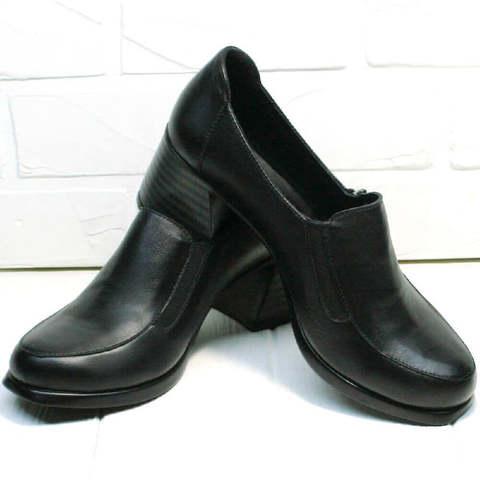 Осенние женские туфли на невысоком каблуке H&G BEM 107 03L-Black.