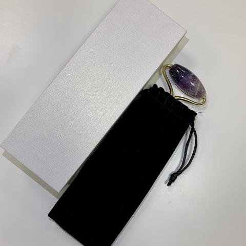 Электрический роллер для лица с функцией вибрации из Аметиста, 14 см