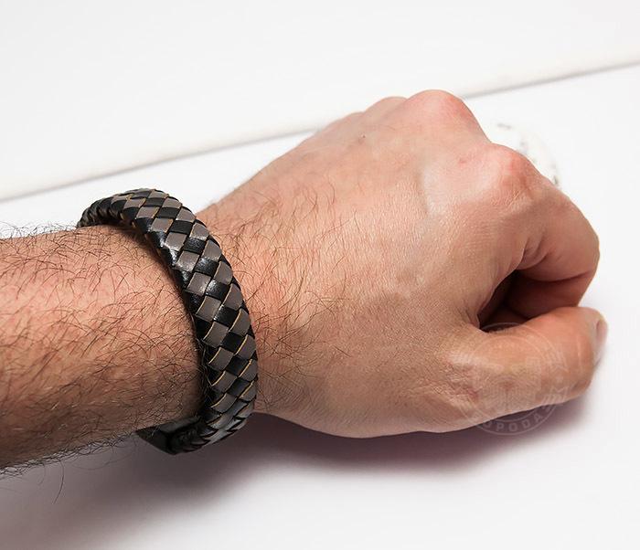 BM450-2 Мужской плетеный браслет из натуральной кожи (20 см) фото 07