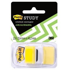 Клейкие закладки Post-it пластиковые желтые 22 листа 25.4х43.2 мм в диспенсере