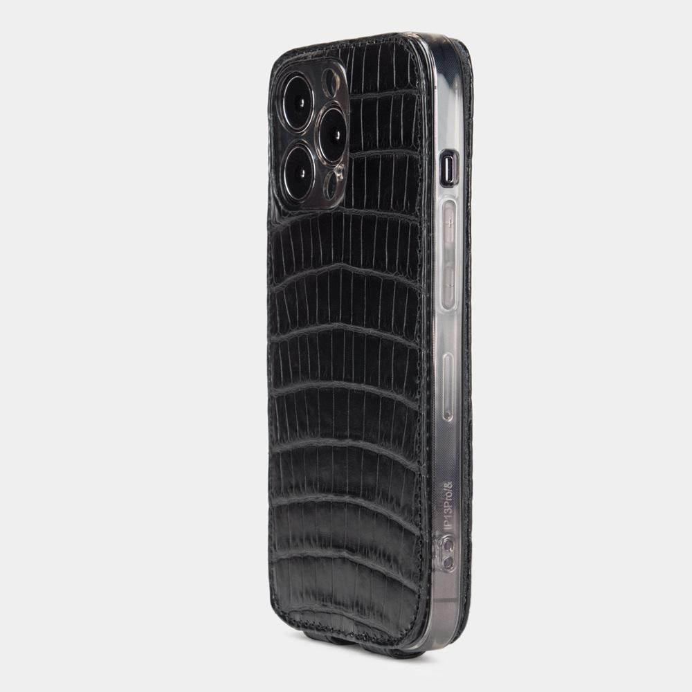Чехол для iPhone 13 Pro из натуральной кожи крокодила, черного цвета