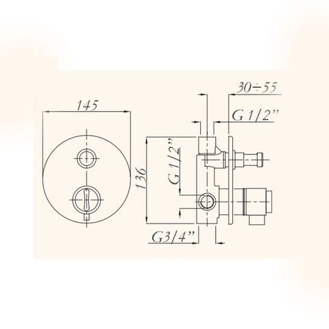 Смеситель встроенный для душа Migliore Fortis ML.FRT-5278.CR с переключателем, термостат