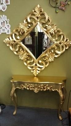 Консоль DUPEN (Дюпен) K58 золото и Зеркало PU021 gold