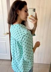 Бьянка. Молодіжна блуза вільного крою. М'ята горох