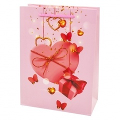 Пакет подарочный, Сердце с бантиком, Розовый, 24*18*9 см, 1 шт.