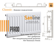 Радиатор Prado Classic Тип 10x300x2600 Боковая подводка