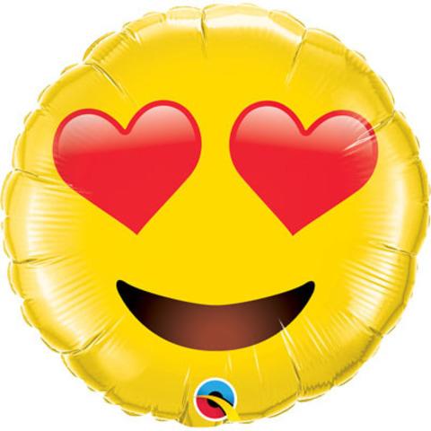 Фольгированный шар Смайл с сердцами