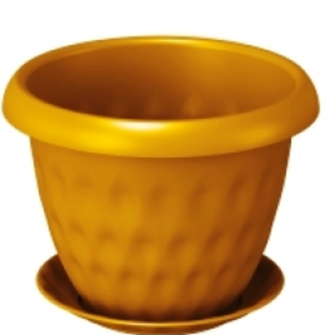 Горшок д/цветов Розетта 21,0л Д40см золотой,пластик,с поддоном