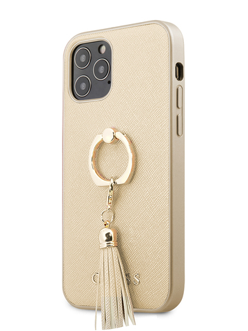 Чехол Guess Saffiano для iPhone 12/12 Pro | PU кольцо бежевый