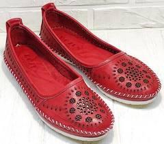 Красные мокасины женские балетки кожаные Rozen 212 Red.