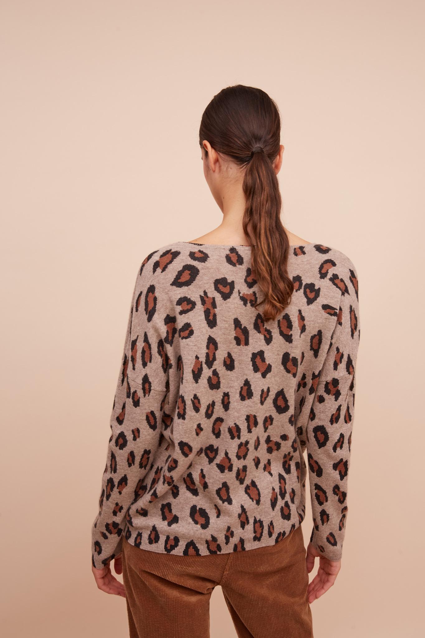 Кашемировый свитер с анималистичным принтом