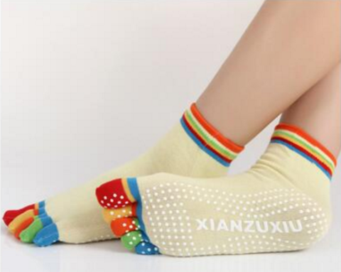Носки с нескользящей подошвой - Разноцветные пальцы (35-39 р.)