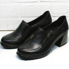 Осенние закрытые туфли на толстом каблуке женские H&G BEM 107 03L-Black.