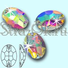 Стразы пришивные стеклянные Oval Crystal AB, Овал  Кристал АБ прозрачный с радужным покрытием на StrazOK.ru