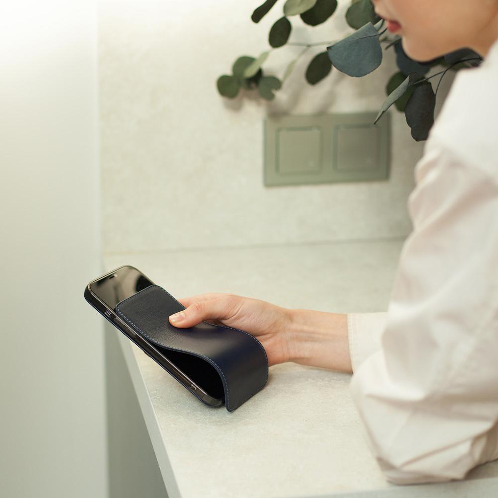 Чехол для iPhone 12 Pro Max из натуральной кожи теленка,  цвета индиго
