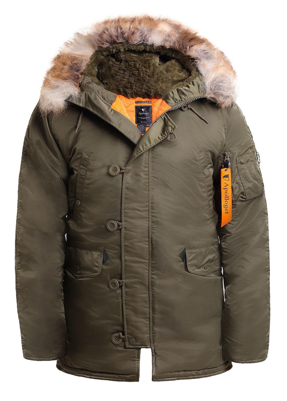 Куртка Аляска  N-3B  Husky Apolloget 2017 (зеленый - capers/orange)