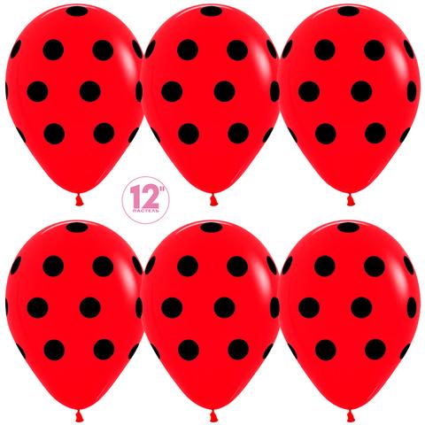 Воздушный шар (12''/30 см) Черные точки, Красный (015), пастель