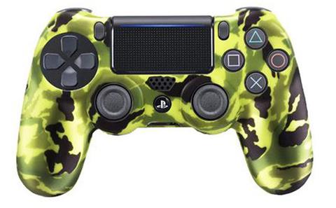 Чехол для геймпада DualShock 4 (камуфляж салатово-зелёно-черный перламутровый)