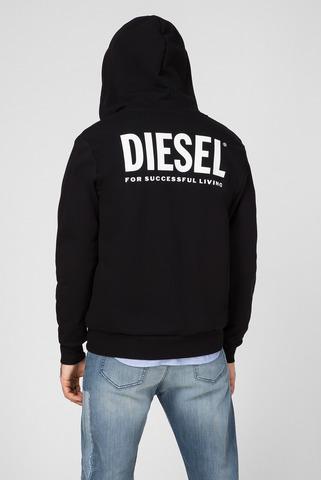 Мужское черное худи S-GIRK-HOOD-ZIP-LOGO Diesel