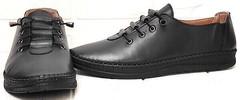 Смарт кэжуал чёрные кроссовки женские мокасины кожаные EVA collection 151 Black.