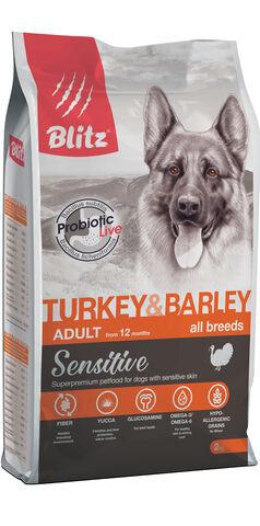 купить Blitz Adult All Breeds Turkey & Barley сухой корм для взрослых собак всех пород с индейкой и ячменем