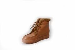 Рыжие кожаные сникерсы утепленные на шнуровке