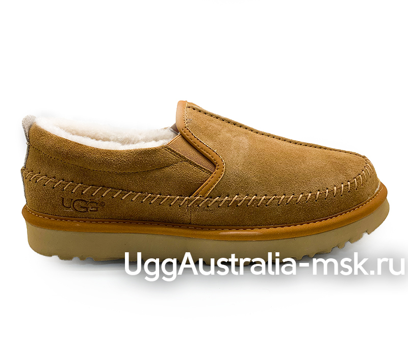 UGG MENS STITCH SLIP ON MEN CHESTNUT