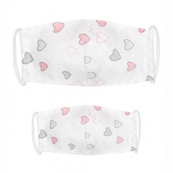 Марлевые маски детская и взрослая Adam Stork Pink Hearts