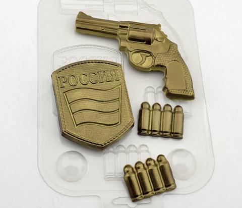 Пластиковая форма для шоколада ср, НАБОР ВОЕННОГО (пистолет, шеврон, пули)