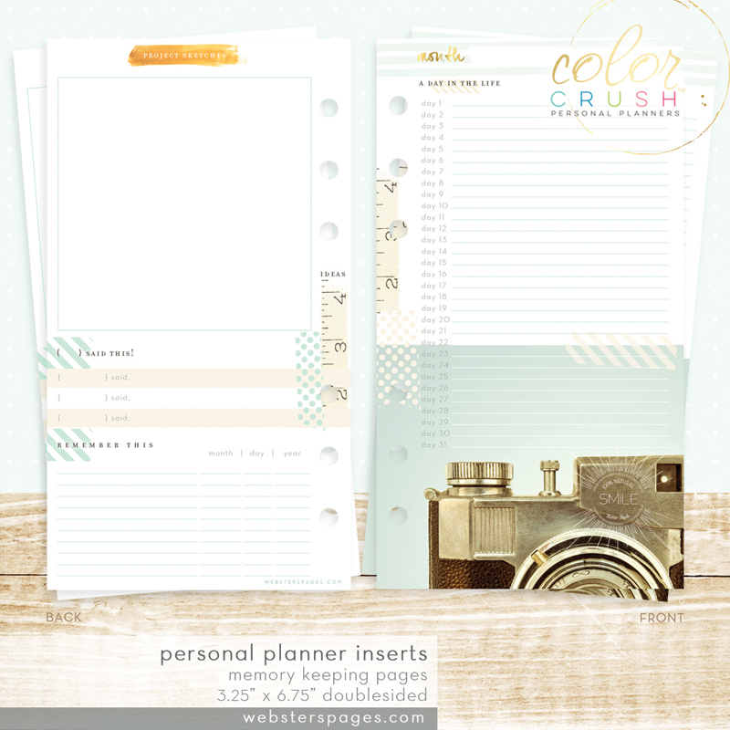 Страницы для заметок MEMORY KEEPING INSERTS, PERSONAL PLANNER Websters Pages