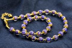 Синее классическое ожерелье из муранского стекла с небольшими бусинами недорогое