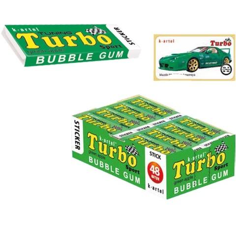 8x48 «TURBO». Резинка жевательная недражированная со вкусом яблока с наклейкой 1кор*8бл*48шт,14 гр.