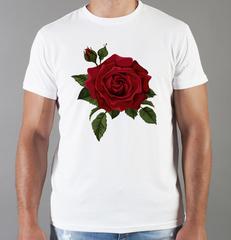 Футболка с принтом Цветы (Розы) белая 0019